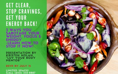 Stop Cravings, Get Your Energy Back!  Find out how on July 26 TUES 6:30 pm (NOTE DATE CHANGED)